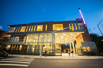 <p>Night view of the Leonard &amp; Claire Tow Center for the Performing Arts with new gateway entrance.</p>