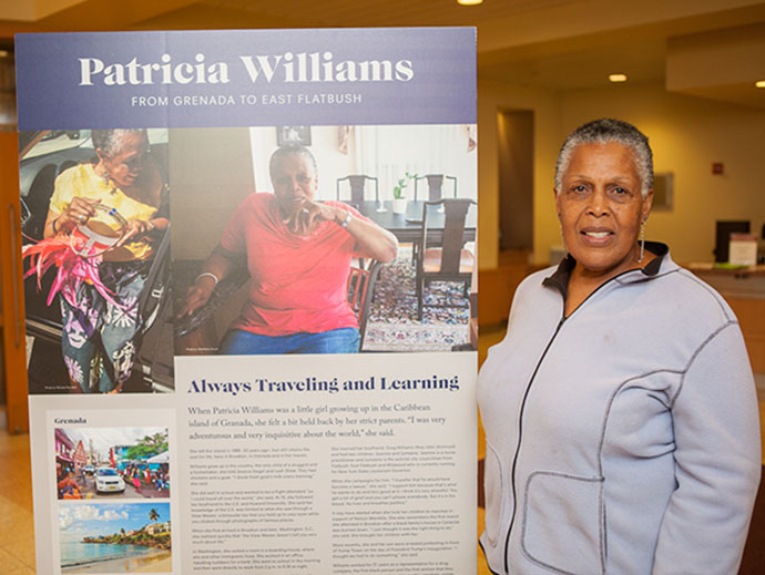 <p>Patricia Williams, mother of New York City councilman and activist Jumaane D. Williams, stopped by the We Are Brooklyn Exhibit, where her coming-to-America story is told along with several others.</p>