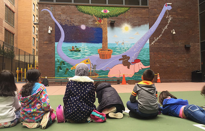 <p>At P.S. 51, students sit and contemplate PUMP's first mural project based on their collaborative poem. Photo by Matthew Burgess.</p>