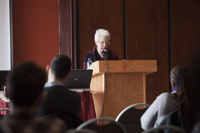 <p>Professor and Department of Judaic Studies Chair Sara Reguer reads excerpts from <em>Opinionated</em> at an event held in her honor at the Brooklyn College Student Center.</p>