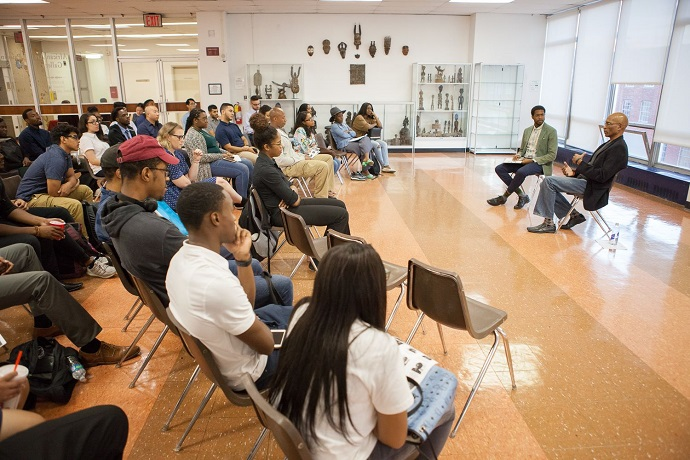 <p>Hinds sat down with Edem Kwakumey '18 in the Brooklyn College Student Center at an event arranged by the Magner Career Center for a wide-ranging interview covering personal and professional advice, the importance of hard work and success, and what he gleaned from his 20+ years of working in the NBA. (Photo by David Rozenblyum)</p>