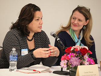 <p>Lisette Nieves '92 with Brooklyn College President Michelle J. Anderson.</p>