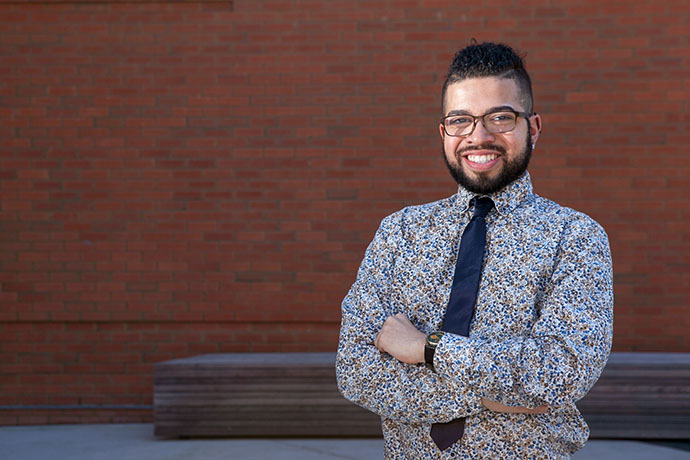 <p> Speech-language pathology graduate student Desmond L. Rivera</p>