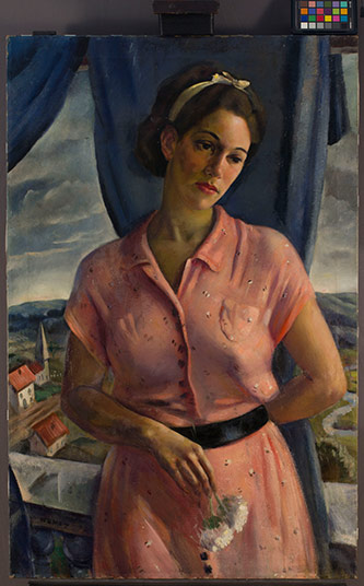 <p>Allen Hermes, <em>Jean </em>(1935–1943). Oil on canvas. 39-1/2in x 25in, one of 13 restored paintings in the Brooklyn College collection of WPA-era paintings.</p>
