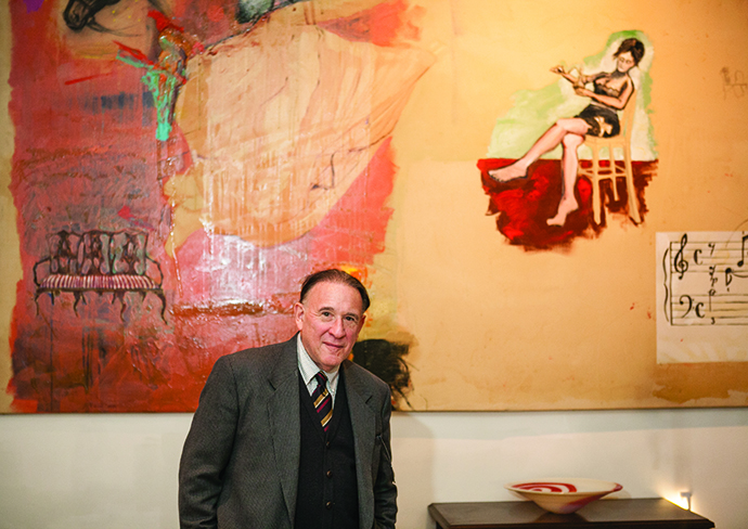 <p>Newly Named Farash Fellow Professor Archie Rand of the Brooklyn College Department of Art in front of his 1982 painting <em>Fragrance</em></p>