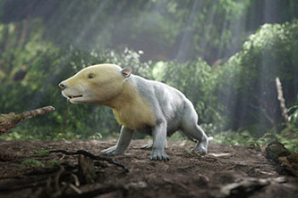 CGI rendering of ancient Taeniolabis mammal taken from the PBS NOVA special, Rise of the Mammals. (HHMI Tangled Bank Studios)