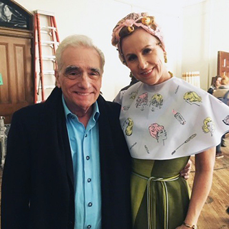 Brooklyn College M.F.A. Professor Welker White with director Martin Scorsese on the set of <em>The Irishman</em>