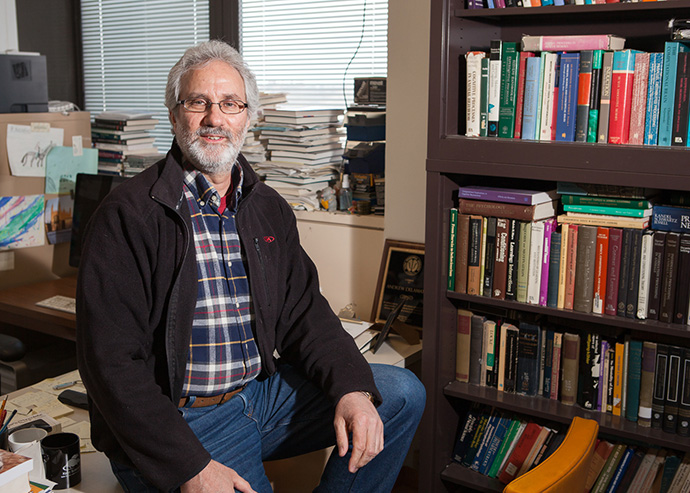 <p>Psychology Professor Andrew Delamater in his office. Photo by David Rozeblyum.</p>