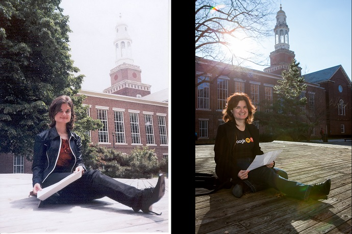 <p>A photo of Felder on the Brooklyn College campus in 2003 recreated in 2018. Original photo provided by Felder. Recent photo and diptych by Craig Stokle.</p>
