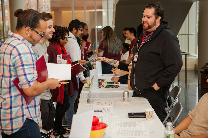 Students are welcomed at the 2019 Transfer Student Reception. The grant from The Petrie Foundation will help the college establish a