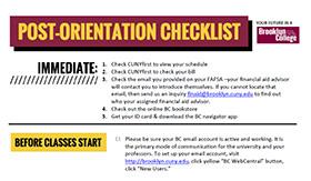 Post-Orientation Checklist