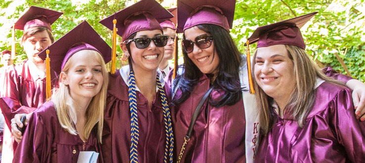 Undergraduate students participate in outdoor Commencement Exercises every spring.