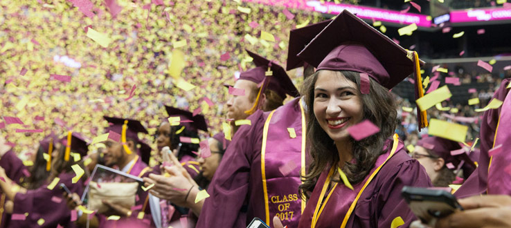 7d800895a128 ... custom Brooklyn College commencement attire. 1 p School spirit was in  the air when confetti—colored gold and
