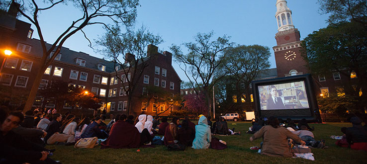 Outdoor Movie Night is a popular event when the sun goes down.