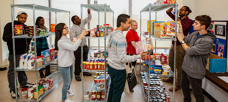 The on-campus Food Pantry assists students who may be experiencing hunger.