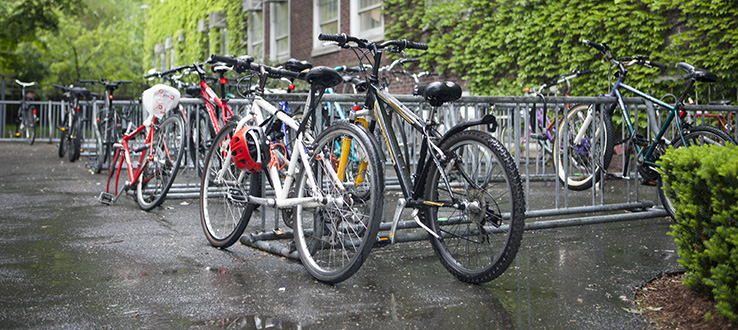 Bicycle racks on campus are maintained by security personnel.