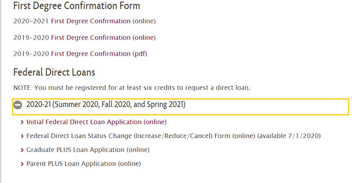 Screenshot of the Brooklyn College Financial Aid Forms Webpage