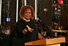 <p>Robin Quivers takes a shot at Don Buchwald during the Friars Club roast.</p>