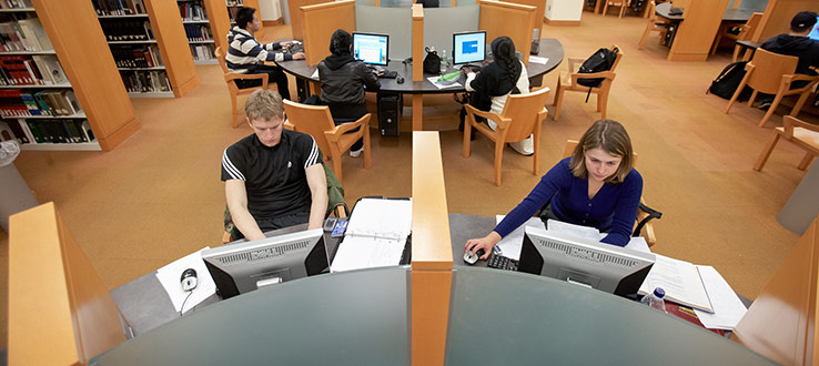 1<p>Graduate students utilize a computer lab in the Brooklyn College Library.</p>