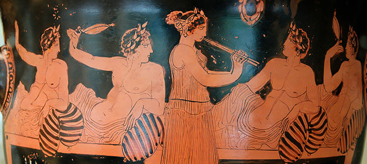 Symposium scene painted on ancient Greek vase by Nikias Painter (Wikimedia Commons)