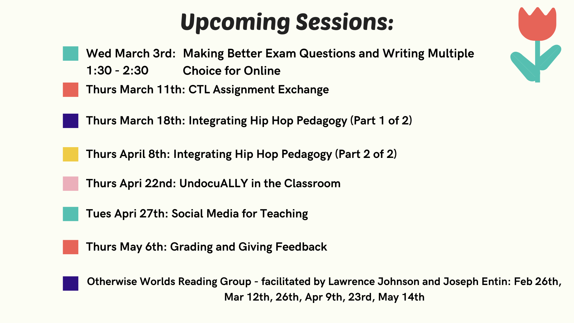 Upcoming CTL Sessions for Spring 2021