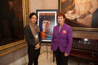 Professor Barbara Winslow (right) with filmmaker Shola Lynch, director of the award-winning documentary <em>Chisholm '72: Unbought and Unbossed</em> at unveiling of Shirley Chisholm Black Heritage stamp at Brooklyn Borough Hall, January 31.